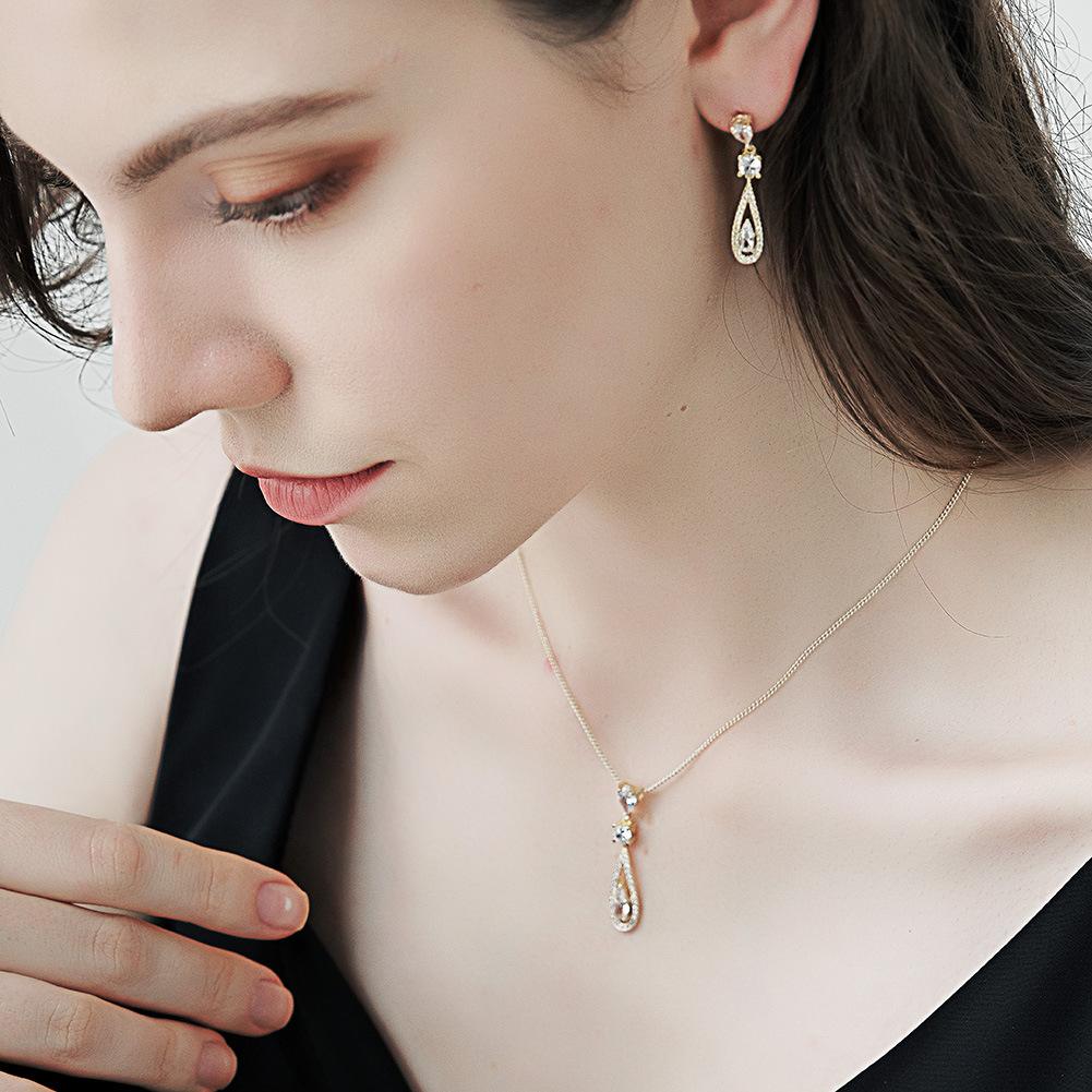 Pendientes largos de collar en forma de gota con colgante de circón de moda, conjunto al por mayor de joyería Nihao NHHS404961