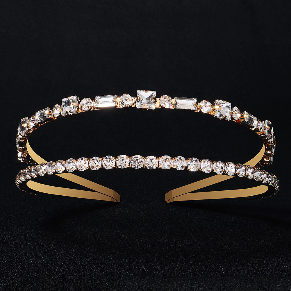 Diadema de diamantes de imitación doble geométrica de moda al por mayor  NHHS404964