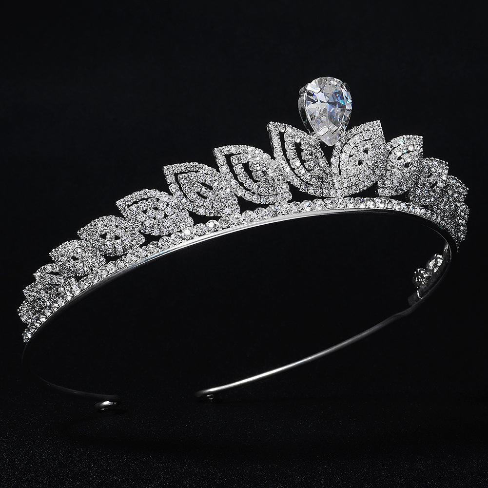 moda lujo circón rhinestone corona nupcial boda al por mayor  NHHS404973