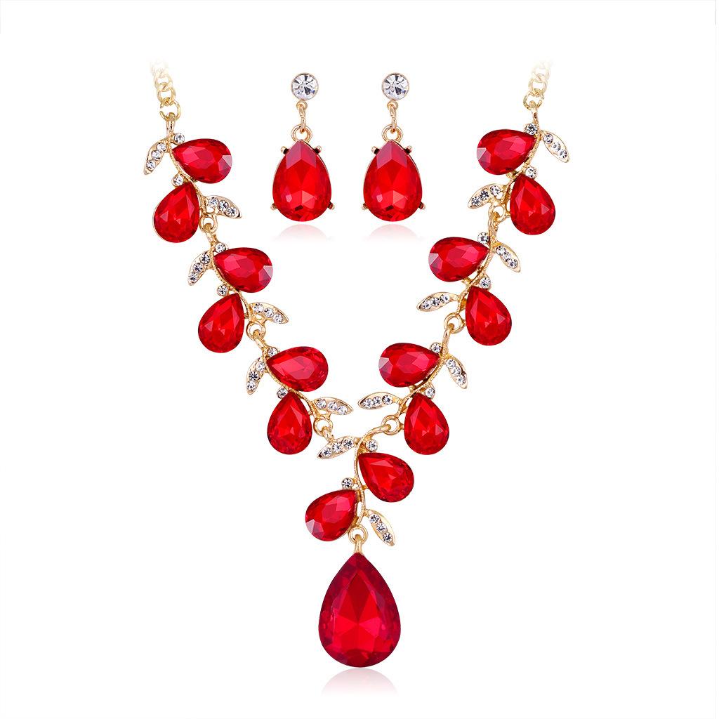 Conjunto de collar de pendientes de cristal de diamantes de imitación de aleación de gotas de color retro al por mayor  NHDR405660
