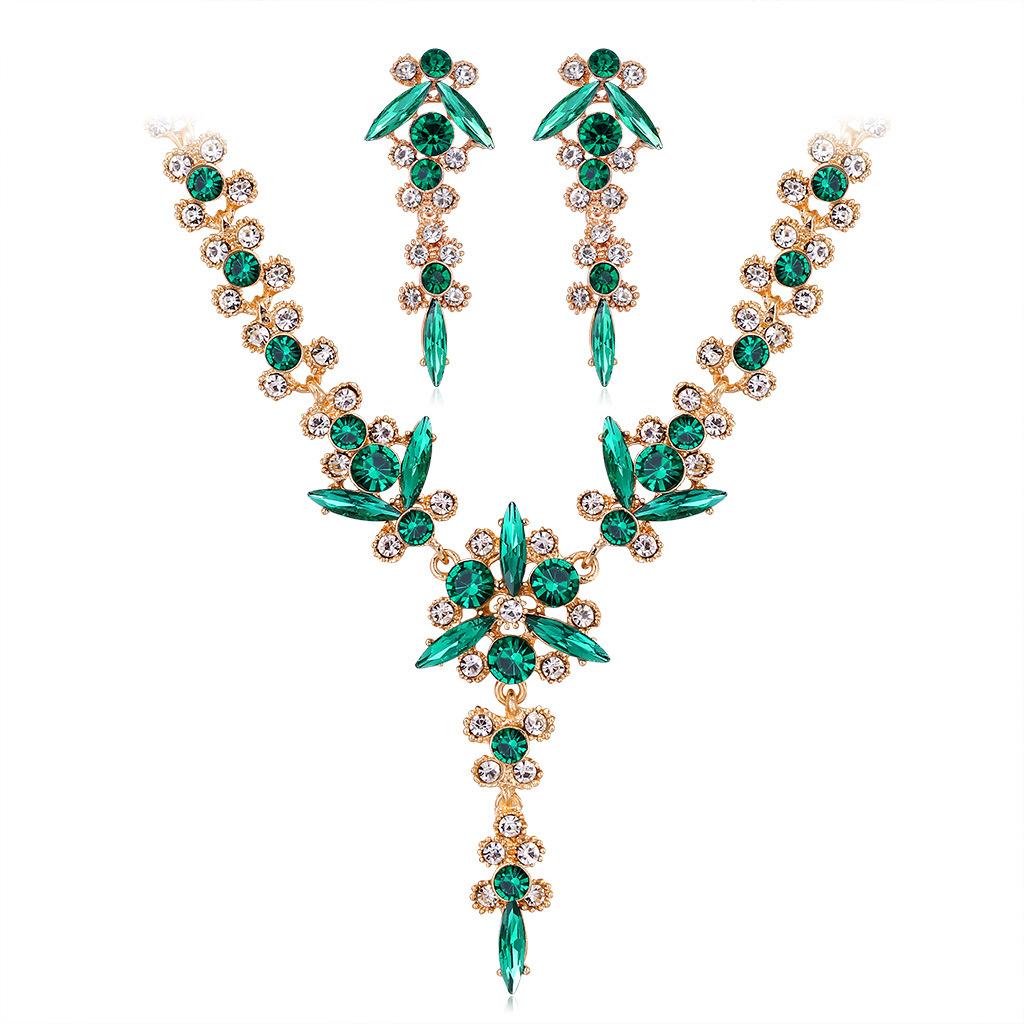 Conjunto de collar de pendientes de novia de diamantes de imitación de piedras preciosas de colores de moda al por mayor  NHDR405662
