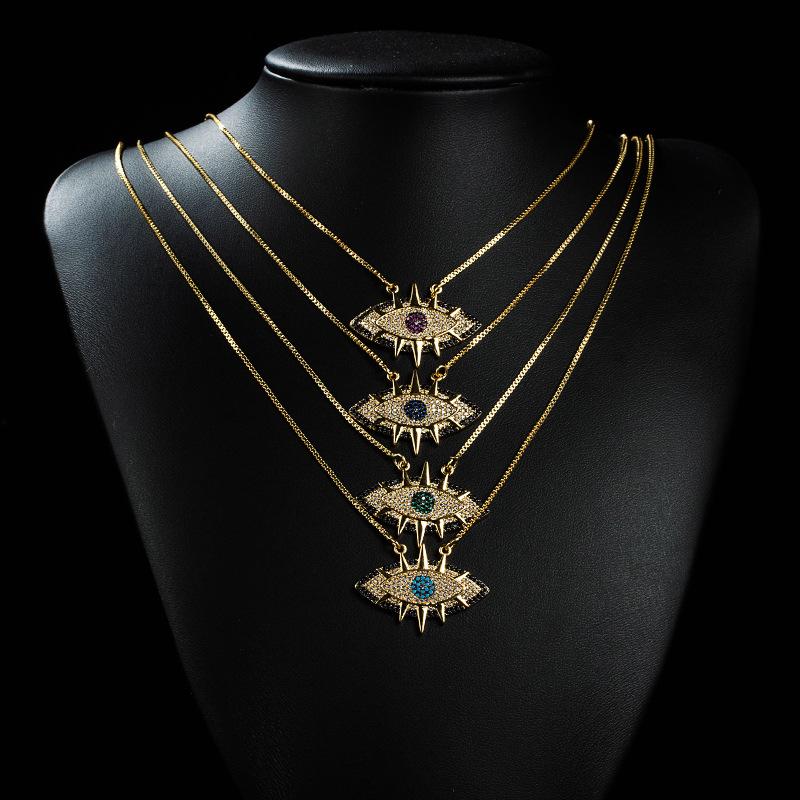 Collar de circón con incrustaciones de cobre de ojo creativo de nueva moda al por mayor  NHYIS395684