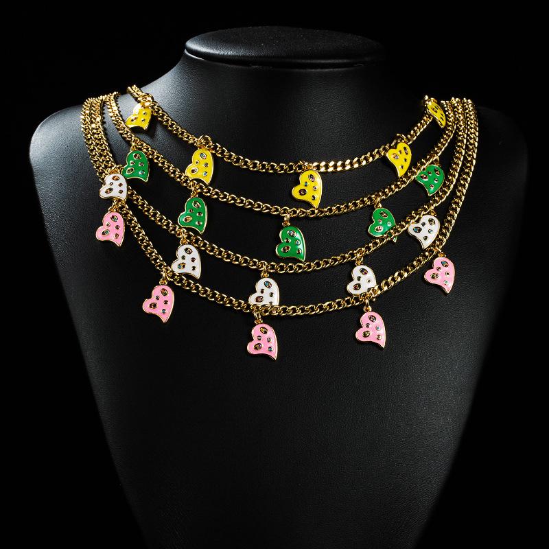 Collar de circón de aceite de cobre de corazón multicolor simple coreano 18K al por mayor  NHYIS395685