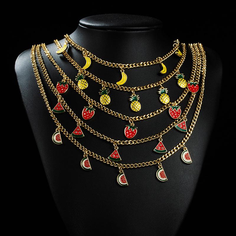 Collar de cobre de aceite de gota de fruta multicolor simple coreano de 18K al por mayor  NHYIS395687