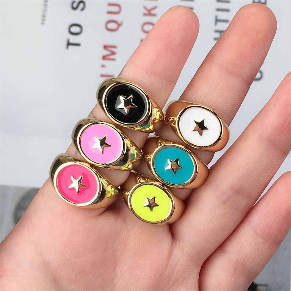 wholesale anillo abierto de estrella de cobre de aceite de goteo retro  NHPY396150