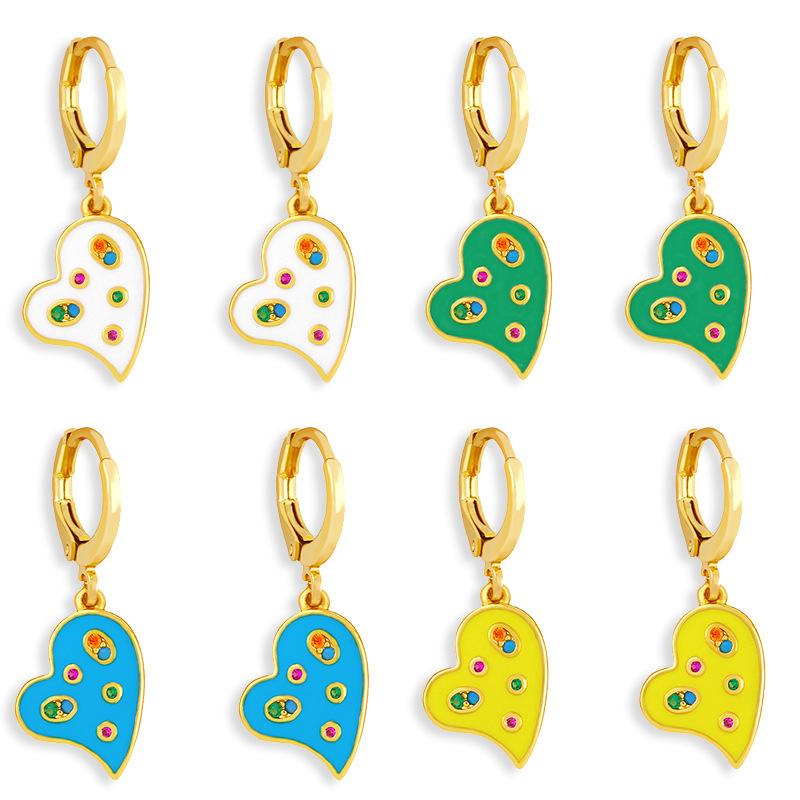 wholesale Pendientes de circón con incrustaciones de color de aceite en forma de corazón de moda  NHAS396229