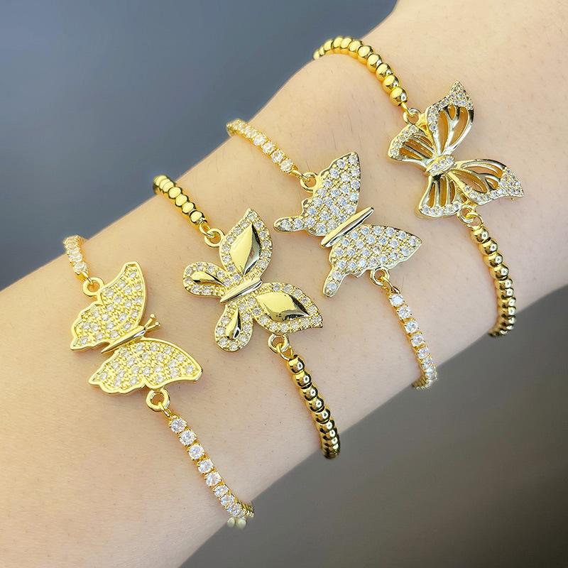 circón con incrustaciones de mariposa pulsera ajustable joyería al por mayor  NHAS396232
