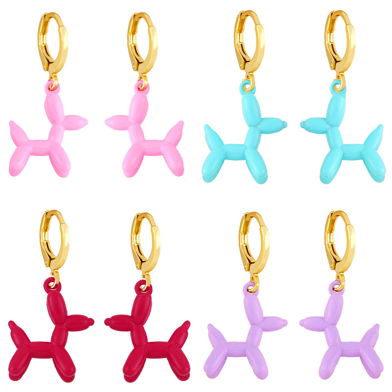 wholesale pendientes de cobre de perro globo colorido geométrico retro  NHAS396235