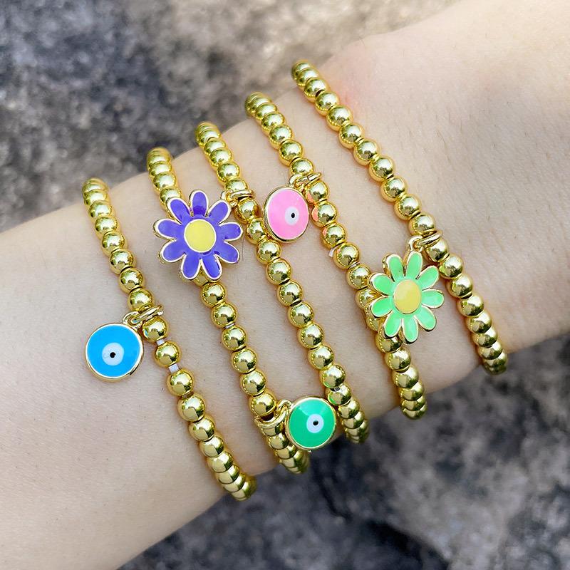 ojo flor moda cuentas redondas pulsera elástica joyería al por mayor  NHAS396245