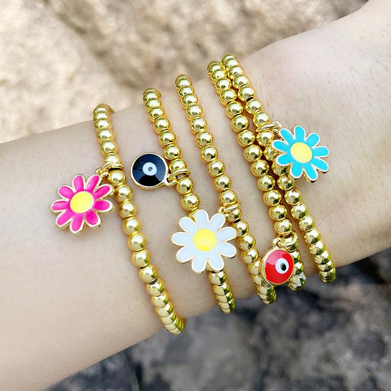 Margarita flor ojo cuentas redondas estilo étnico pulsera elástica joyería al por mayor  NHAS396246