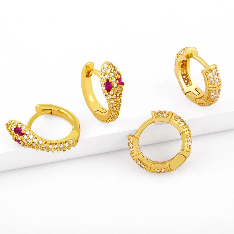 wholesale pendientes de cobre de circonita con micro incrustaciones en forma de serpiente de moda  NHAS396256