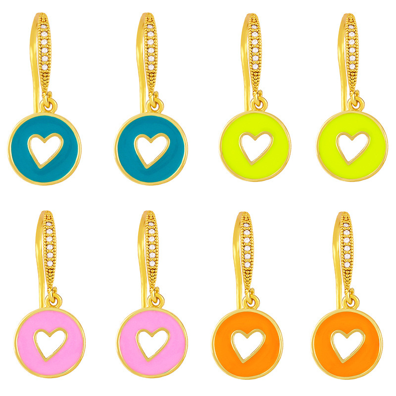 wholesale Pendientes de cobre de corazón hueco redondo de aceite de gota de color de moda  NHAS396274