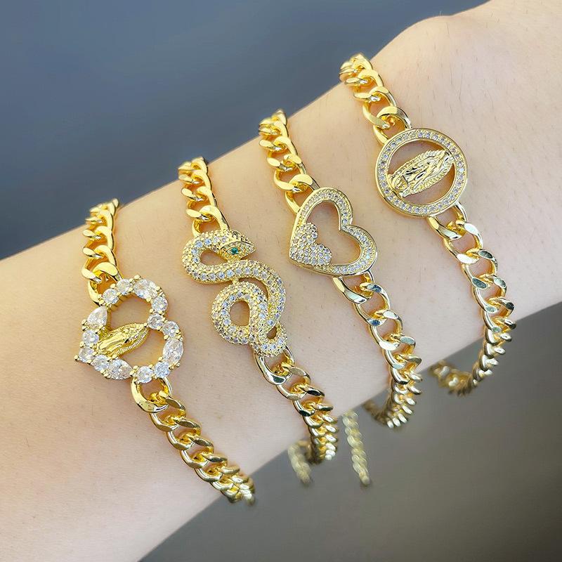 Cadena cubana en forma de serpiente en forma de corazón pulsera de diamantes joyería al por mayor  NHAS396286