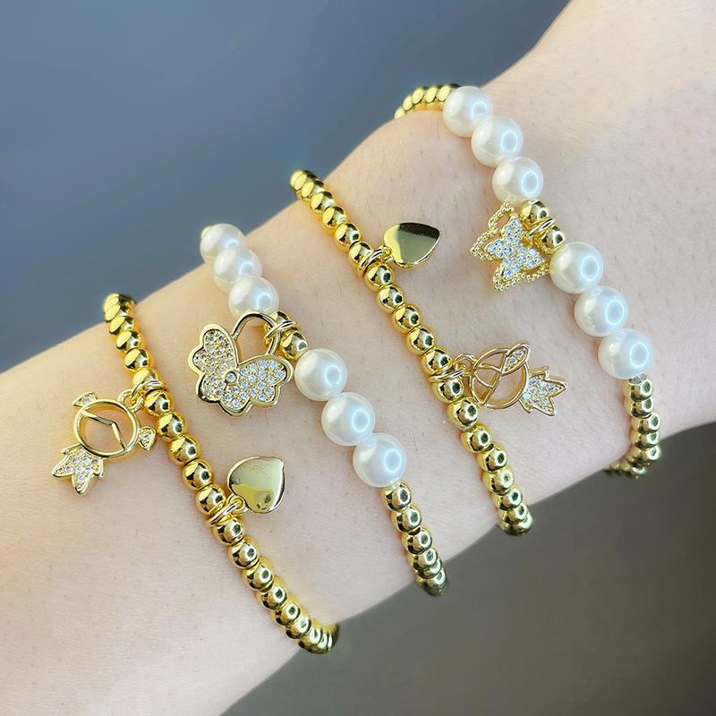 retrato mariposa perla cuentas redondas pulsera elástica joyería al por mayor  NHAS396287