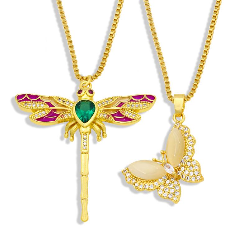 Al por mayor insecto libélula colgante mariposa collar de cobre  NHAS396291