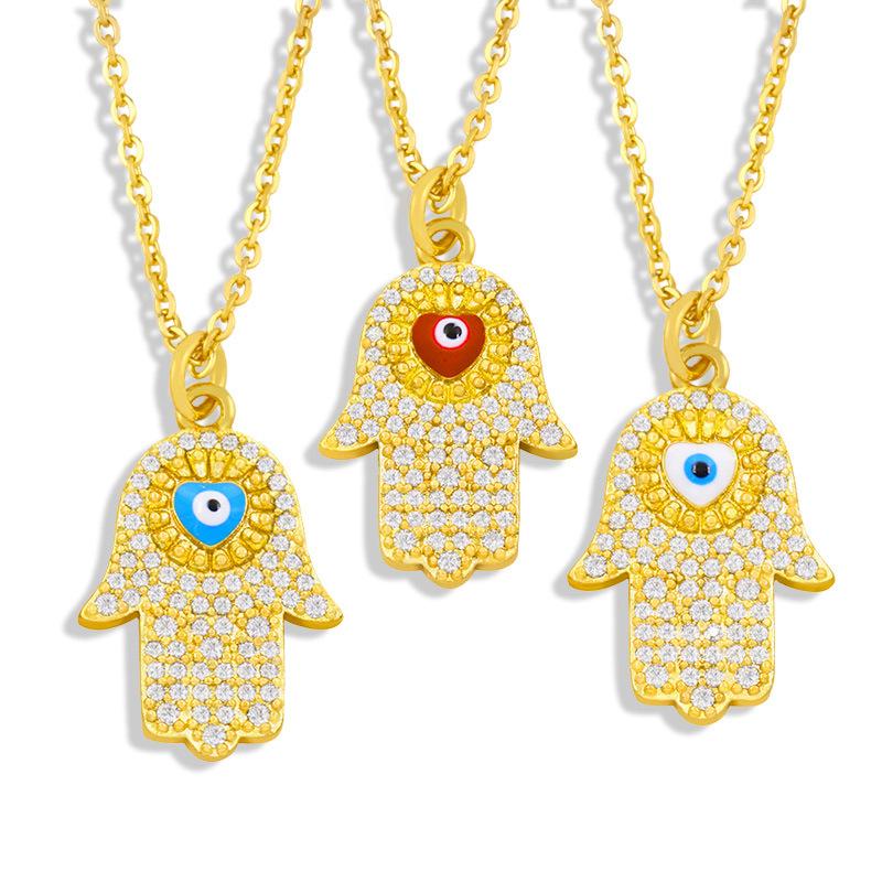 wholesale collar colgante de palma de ojo de diablo de circón con incrustaciones de moda micro  NHAS396292