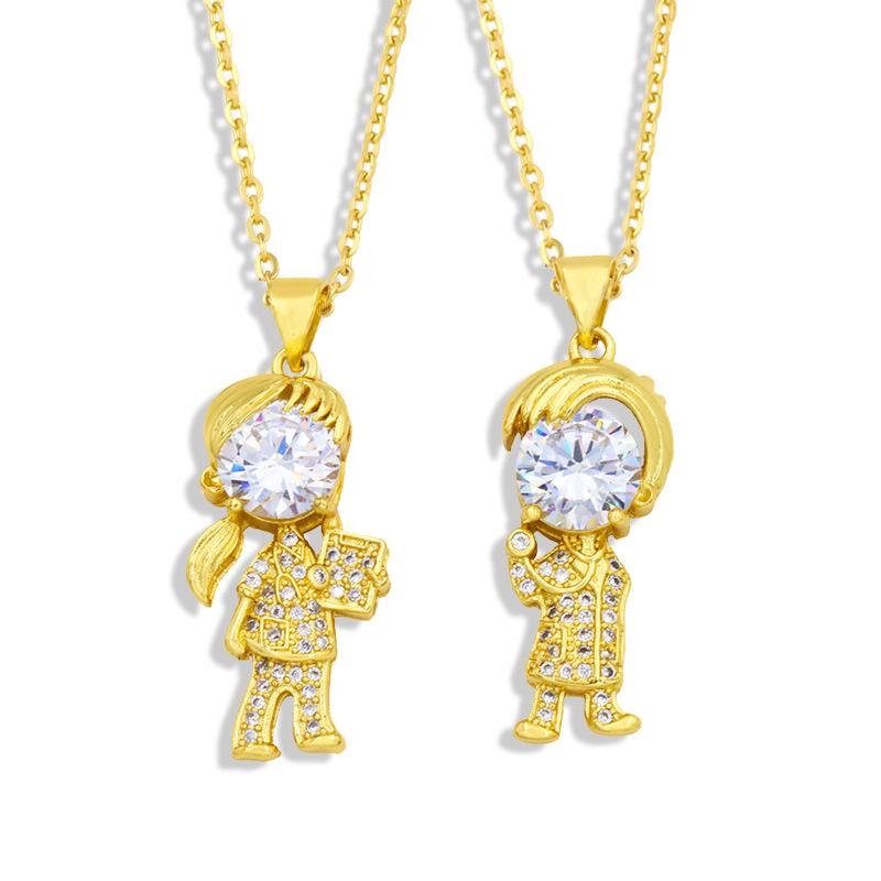 wholesale collar de cobre colgante de circonita niña niño pequeño  NHAS396294