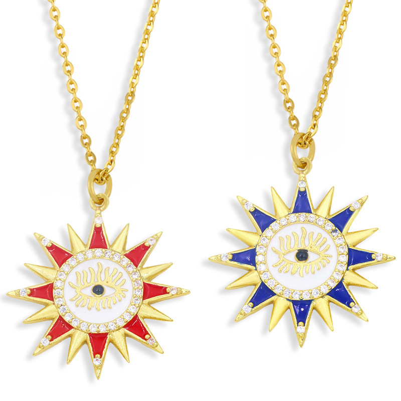Al por mayor collar de cobre con colgante de ojo de sol de diamante  NHAS396296