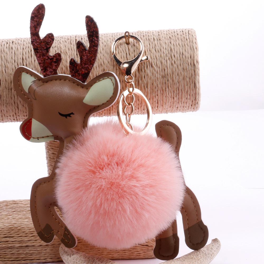 moda dibujos animados bola de piel colorida Navidad ciervos llavero al por mayor  NHDI423567