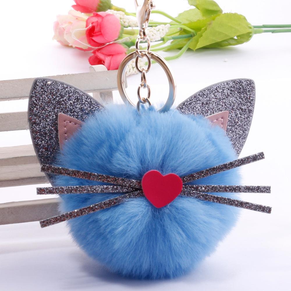 Moda creativa PU orejas barba larga gato bola de pelo llavero venta al por mayor  NHDI423577