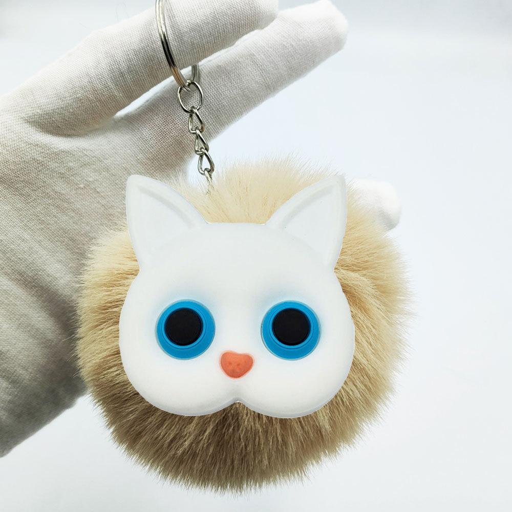 Nueva moda linda imitación de piel de conejo rex gato blanco llavero al por mayor  NHDI423580