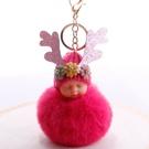 NHDI2025615-Rose-red-8cm-hair-ball-(golden-chain-buckle)