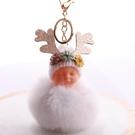 NHDI2025616-White-8cm-hair-ball-(golden-chain-buckle)