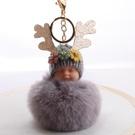 NHDI2025625-Light-gray-8cm-hair-ball-(golden-chain-buckle)