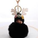 NHDI2025627-black-8cm-hair-ball-(golden-chain-buckle)
