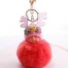 NHDI2025628-watermelon-red-8cm-hair-ball-(golden-chain-buckl