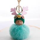 NHDI2025629-Mint-Green-8cm-hair-ball-(golden-chain-buckle)