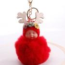 NHDI2025630-Red-8cm-hair-ball-(golden-chain-buckle)